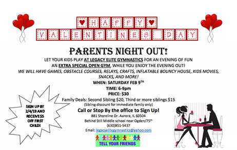 Valentines Day Parents Night Out/Open Gym!
