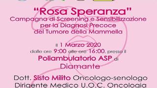 Diamante: il 1 marzo giornata di sensibilizzazione sul tumore della mammella