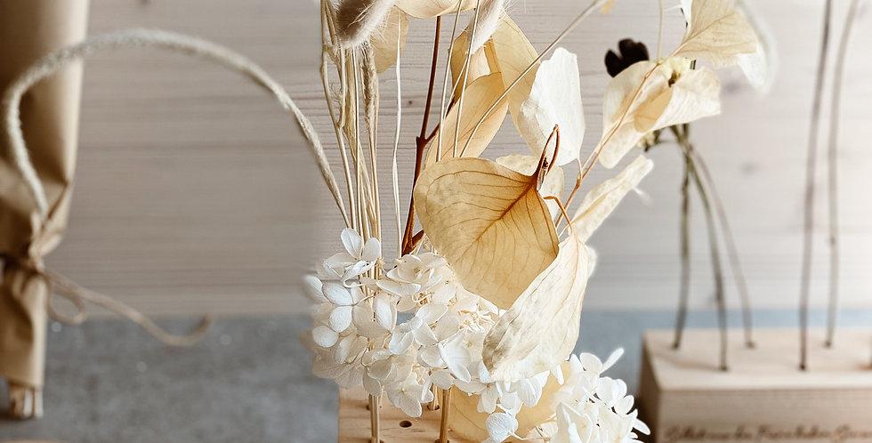 Trockenblumen Holzwürfel mit personalisierter Gravur