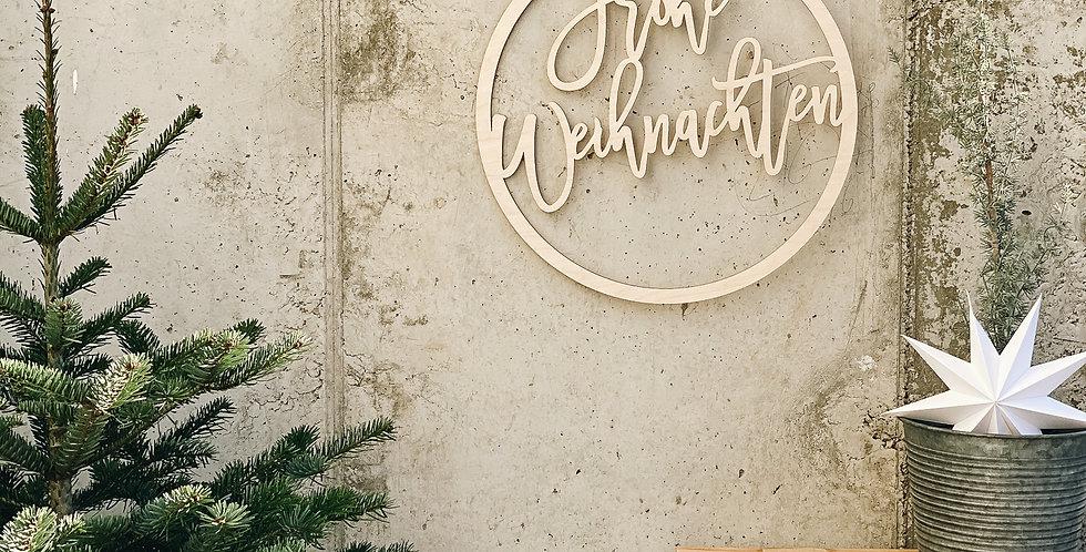 Schild Frohe Weihnachten