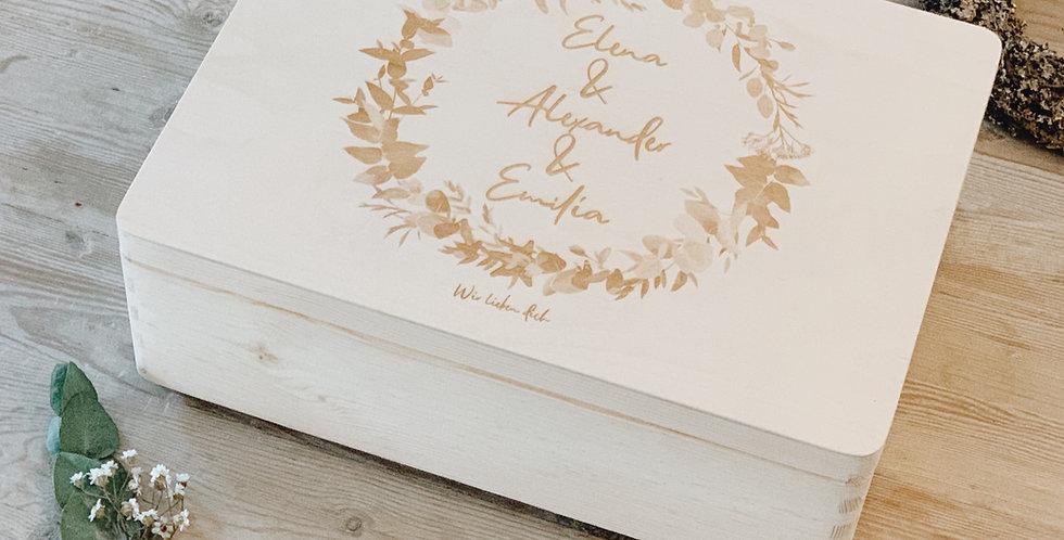 Holzkiste L mit Wunschgravur I Größe 40 x 30 x 13,5 cm I Kiefer unbehandelt