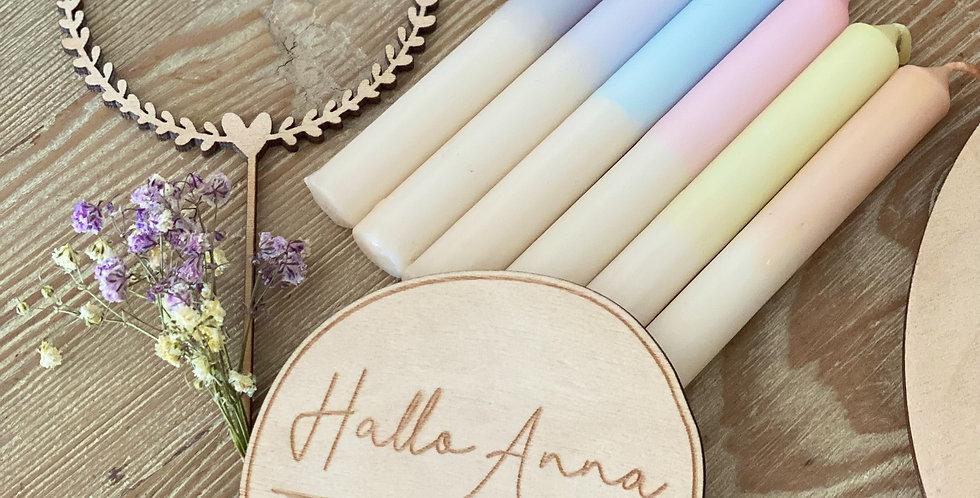 6 handgefärbte Kerzen pastell