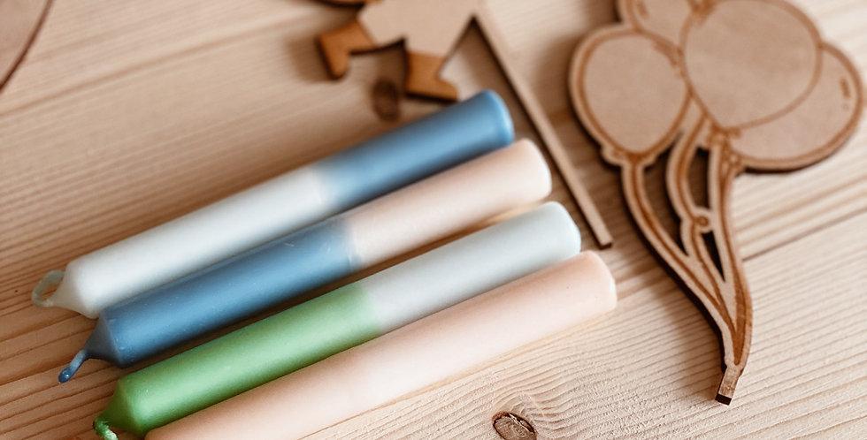 4 handgefärbte Kerzen - Blau - Grün - Natur