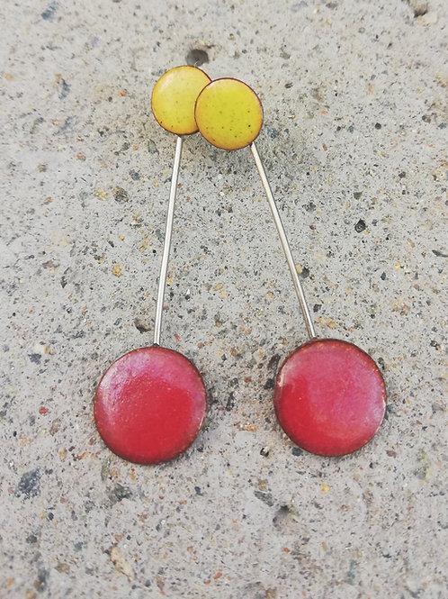 Twin Studs Enamel Earrings