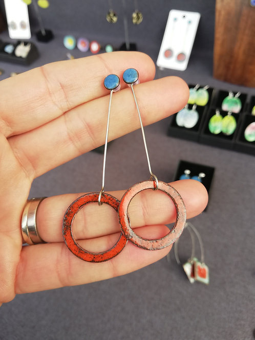 Hanging Loop Enamel Earrings