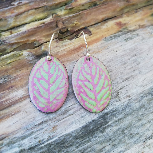 Leaves of Trees Enamel Earrings