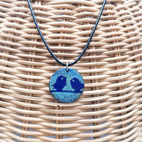 Birds Enamel Necklace