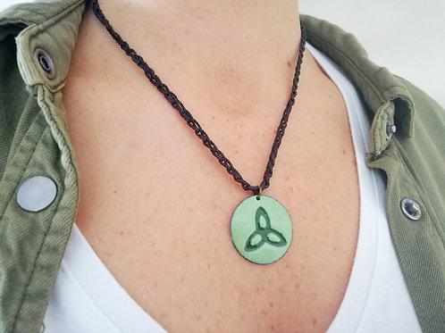 Celtic Trinity Knot Enamel Necklace