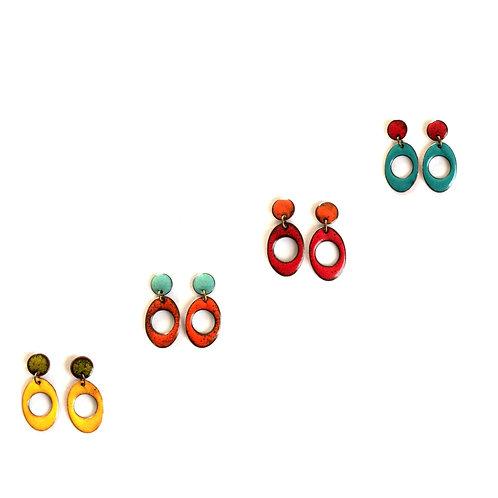 Funky Loops Enameled Earrings