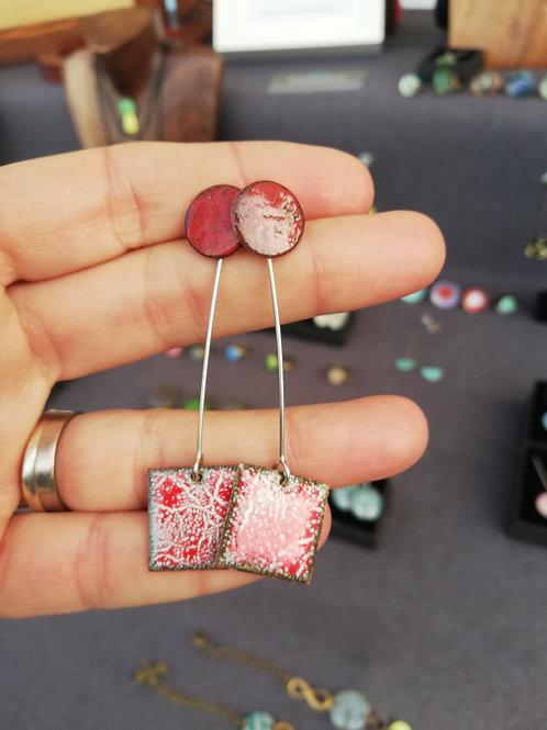 Red Dreams Enamel Earrings