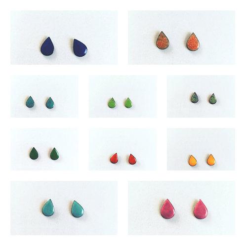 Drop Studs Enameled Earrings