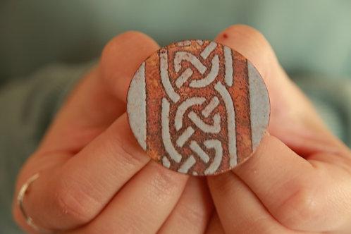 Enameled Celtic Knot Brooch