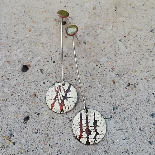 Cross Lines Enamel Earrings