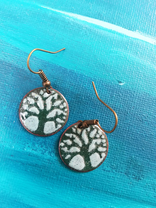 Celtic Tree of Life Enamel Earrings