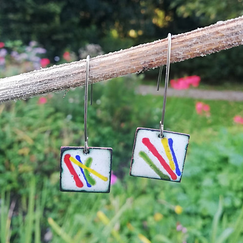 Color Lines Enamel Earrings