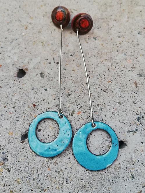 Hanging Loop Enamel Earrings