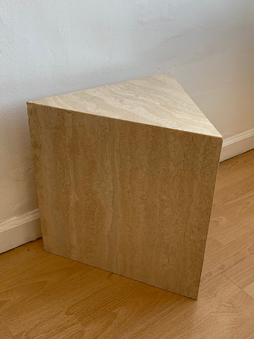 small travertine triangle pedestal
