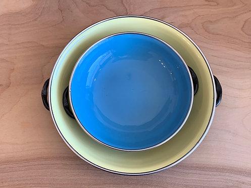 Yellow & Blue Enamel Serving Plates
