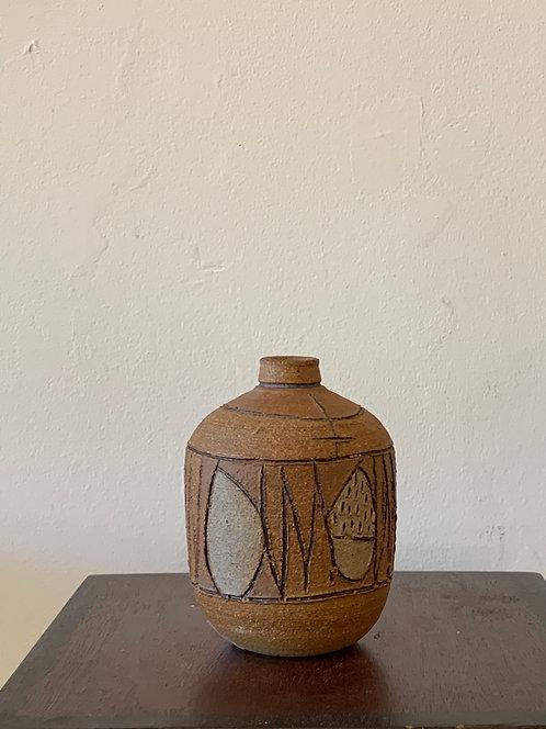 Vintage Stoneware Scratch Bud Vase