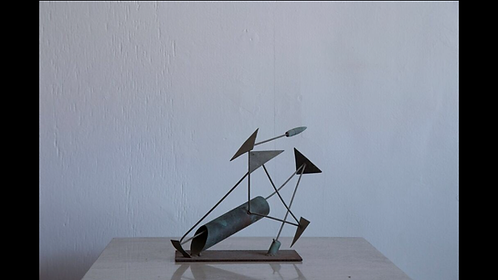 Metal Abstract Sculpture w/ Stand