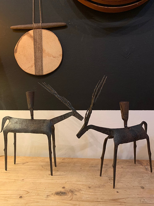 Pair of Iron Reindeer