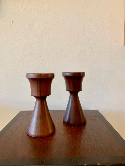 hand carved wooden candlesticks