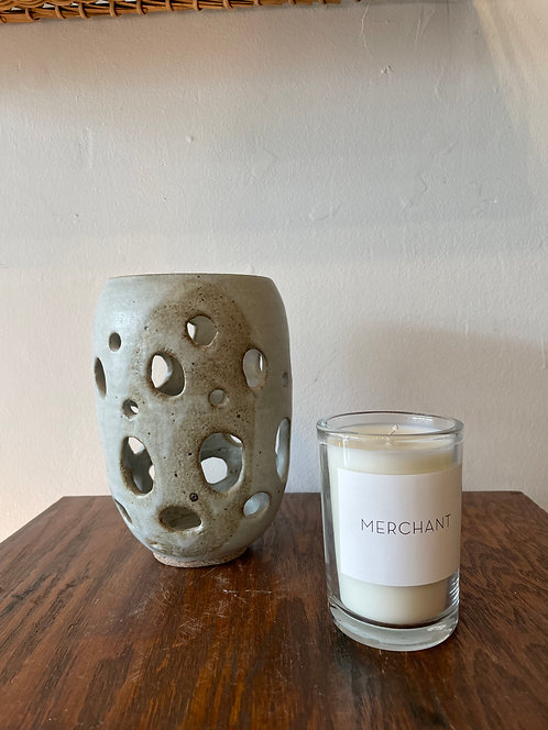 Large Ceramic Candle Holder with Circles by Deb Levine