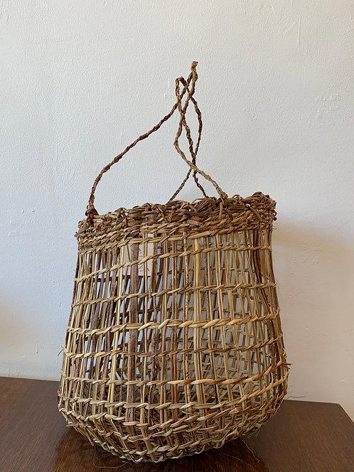 Handwoven Large Basket w/ Long Handles