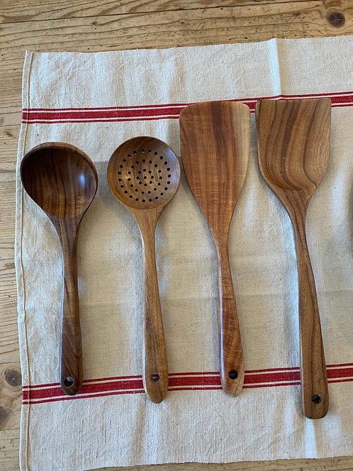 set of wooden kitchen utensils