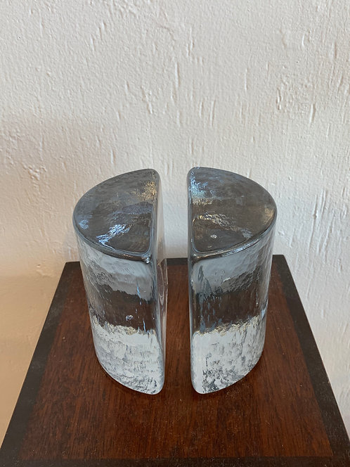 """""""Blanco"""" Glass Bookends"""