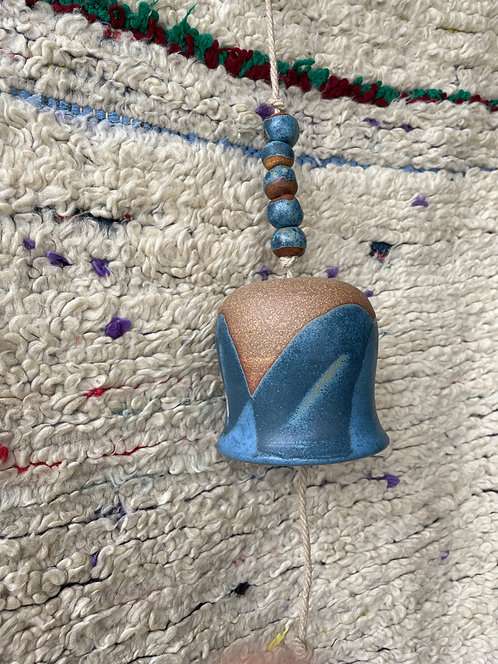 blue tone ceramic bell by Alison Andersson