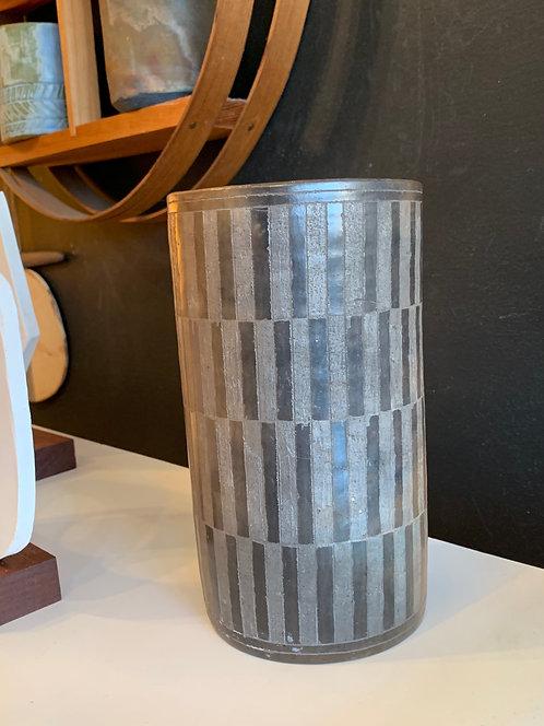 Beautiful Brown Vintage Stripe Ceramic Vase