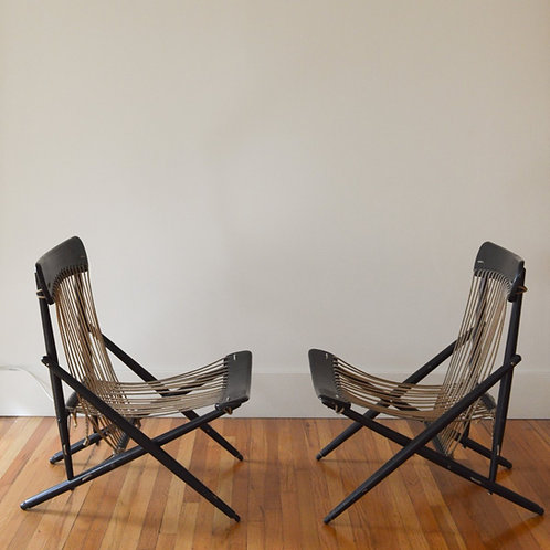 VINTAGE ROPE AND WOOD LOUNGE CHAIRS BY MARUNI JAPAN