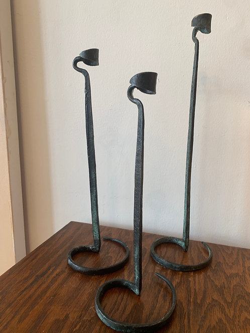 Iron Candlesticks - set of 3