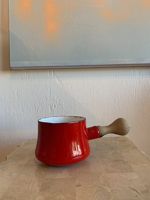 Sm Red Dansk Pot w/ wooden handle