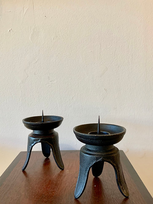 pair of vintage japanese iron candlesticks