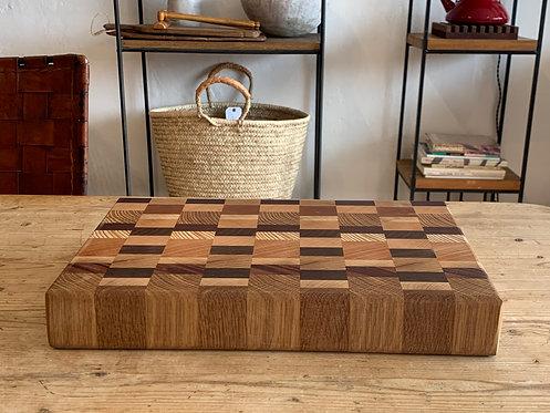 'Solid Block Checkered' Handmade Cutting Board