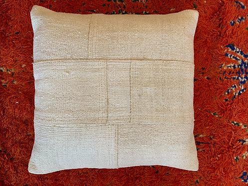 "Patchwork White Hemp Turkish Pillow 20"""