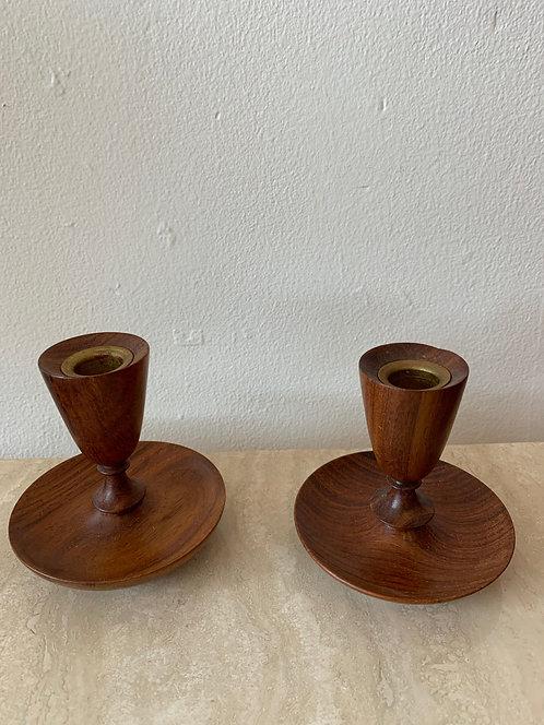 Danish Wooden Candlestick Holders