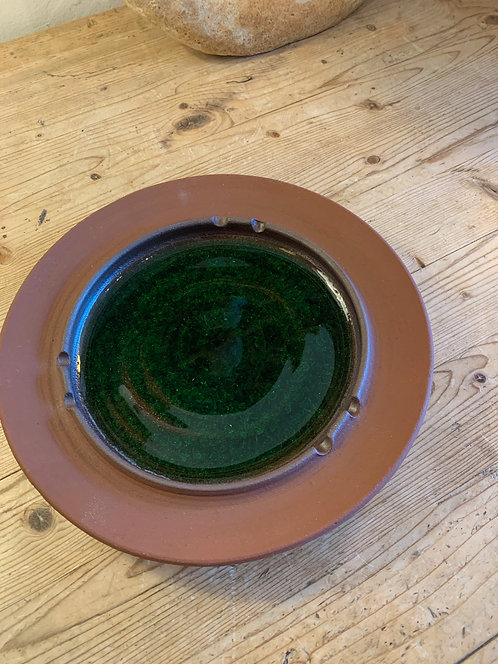 Ceramic Ashtray/ Dish Green Glaze