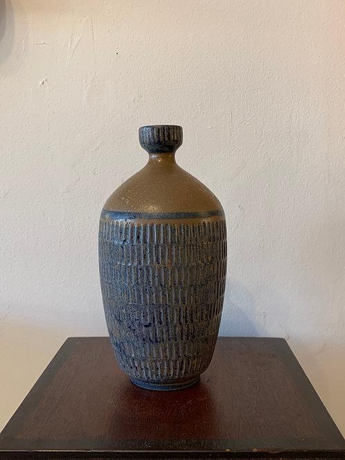 1960's Blue Scratch Vase