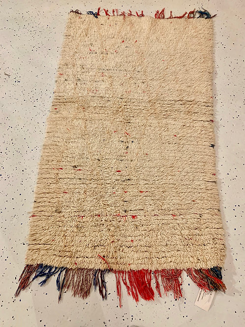 Vintage Moroccan Azilal Rug - Cream w/ Red Tassels