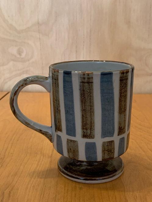 Blue Ceramic Stripe Tea Cup