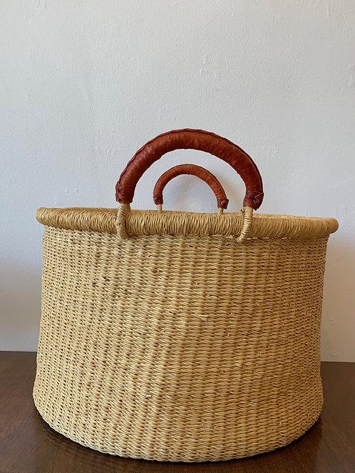Handwoven Bucket Basket w/ Leather Handles