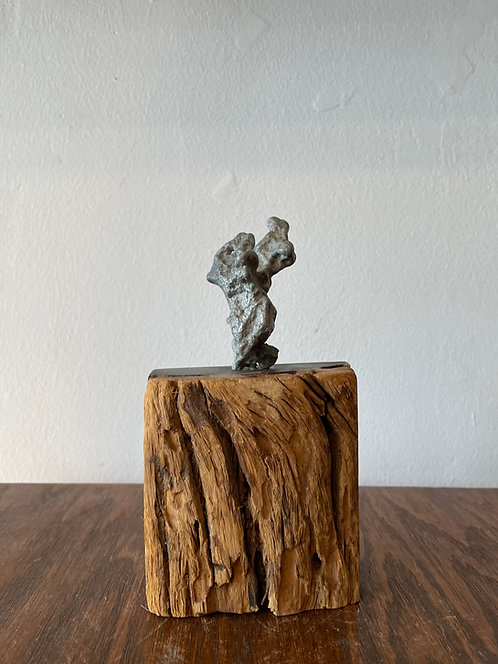 Wooden Sculpture w/ metal coral