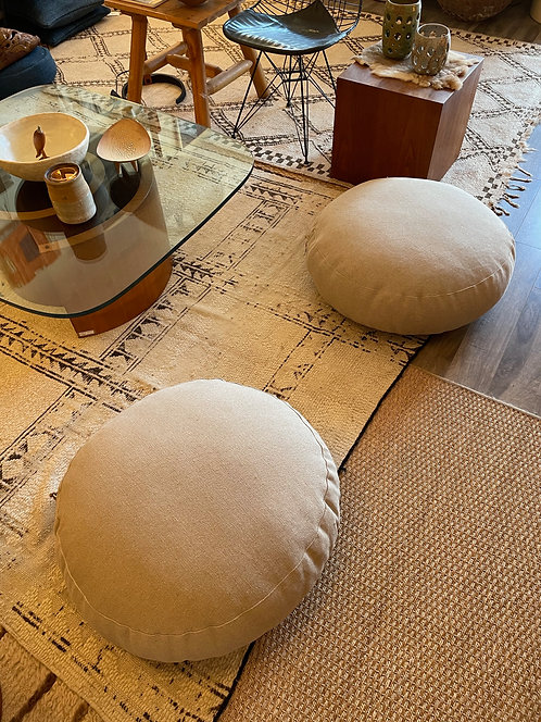 Linen Large Round Meditation Pillow