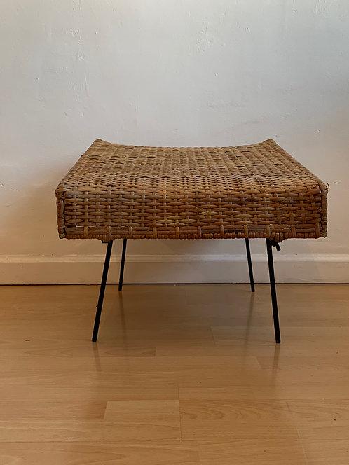 Vintage Rattan Ottoman/ Table