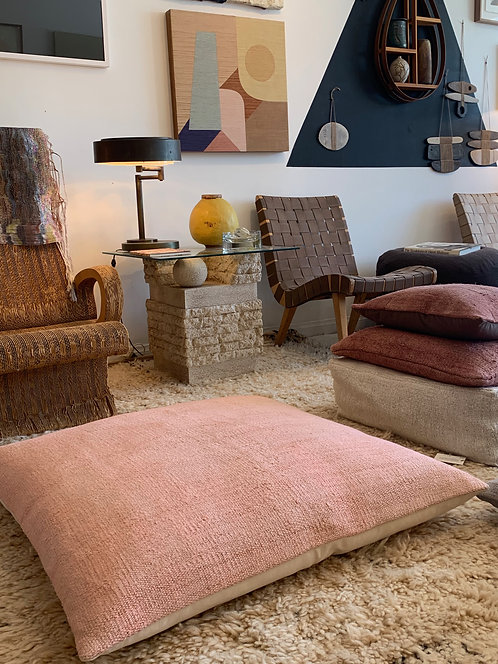 Large Pink Hemp Floor Pillow