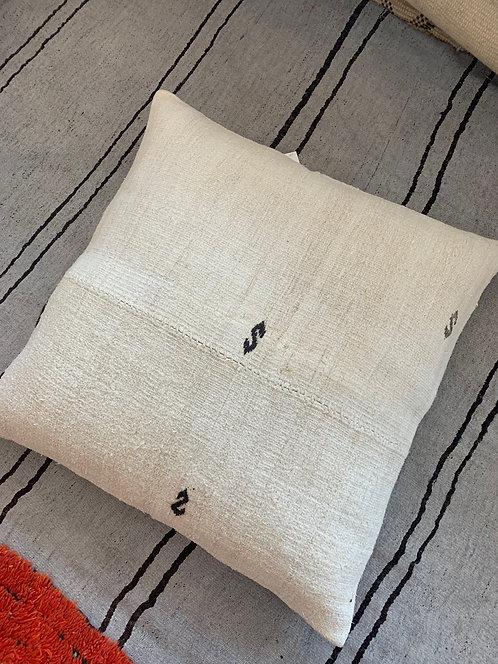 Large Turkish Hemp Pillow w/ Embroidery
