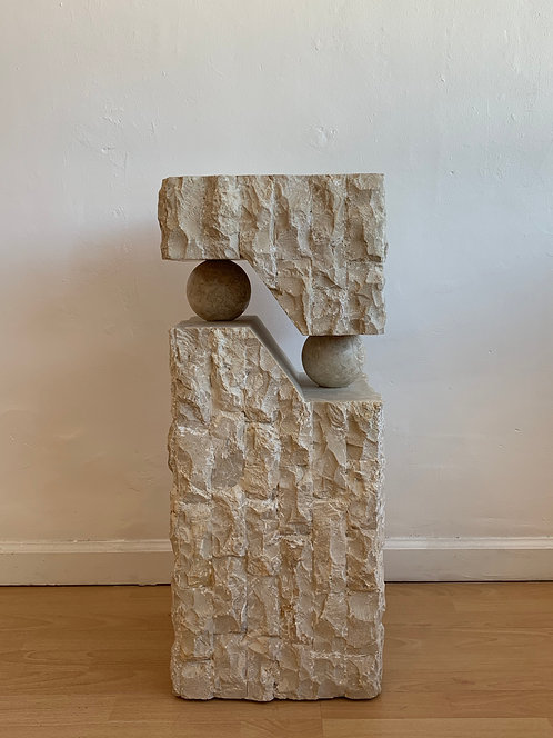 Travertine Abstract Pedestal w/ Balls